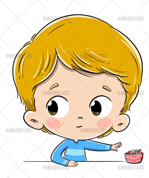 Illustration of a child trying to grab some sweets without being noticed