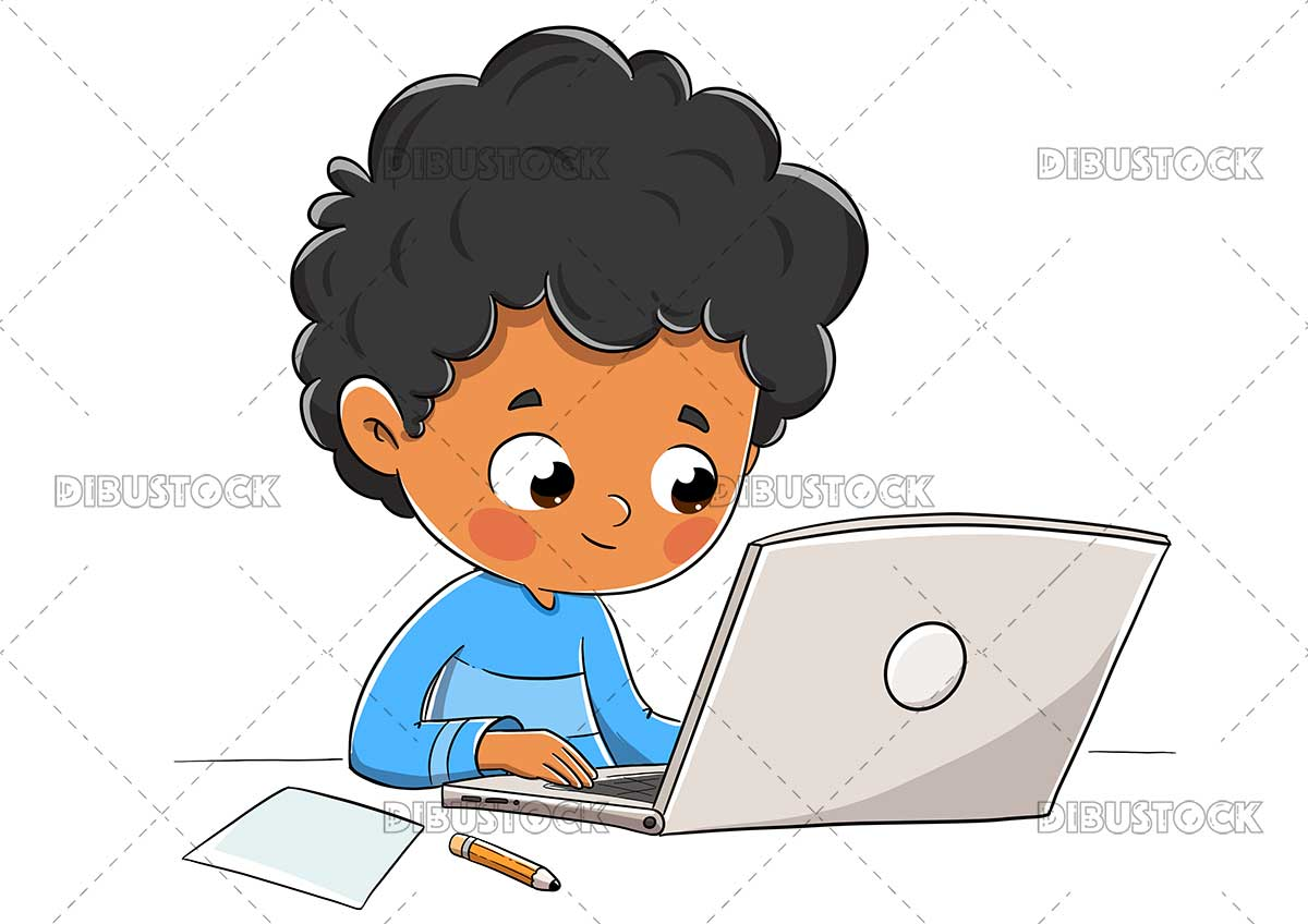 Illustration of a child with a computer studying or doing homework.