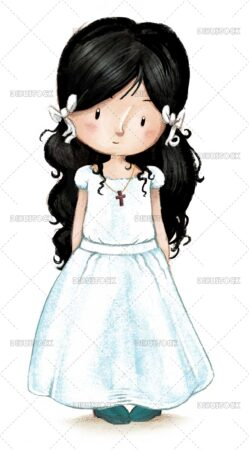 Illustration of a girl dressed in communion