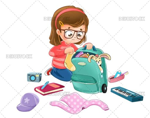 Illustration of a girl packing her suitcase to go on a trip or holiday