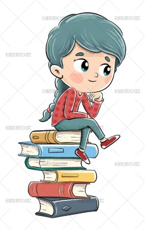 Illustration of a girl thinking while sitting on a pile of books