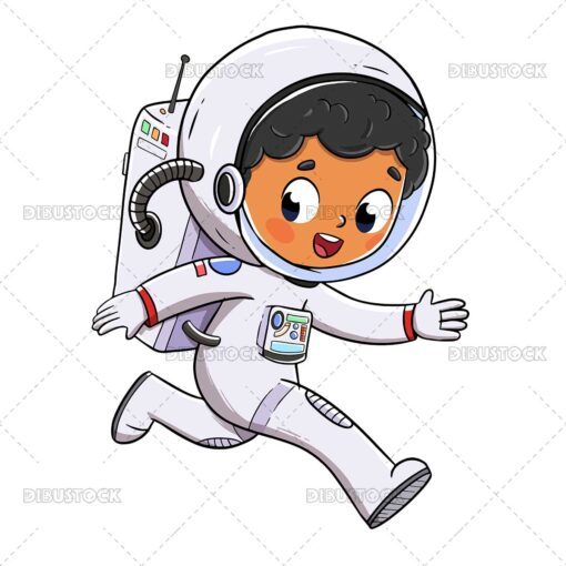 Illustration of a little boy dressed as an astronaut walking happily