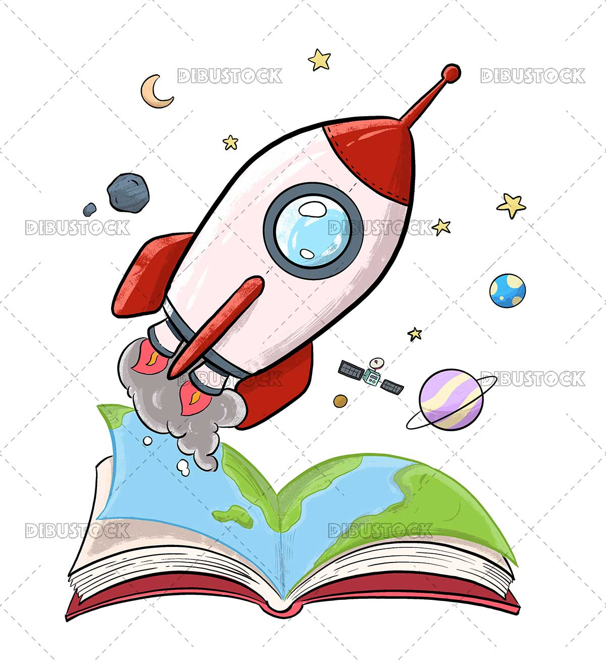 Illustration of a rocket ship coming out of a book