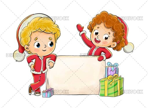 Illustration of children celebrating Christmas with a poster and gifts