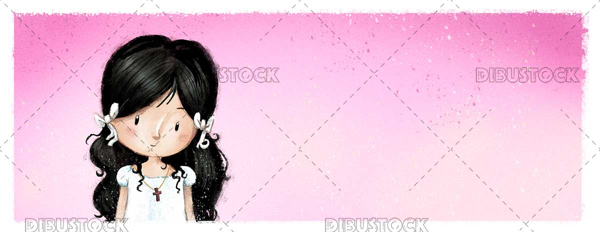 Illustration of girl dressed in communion pink background