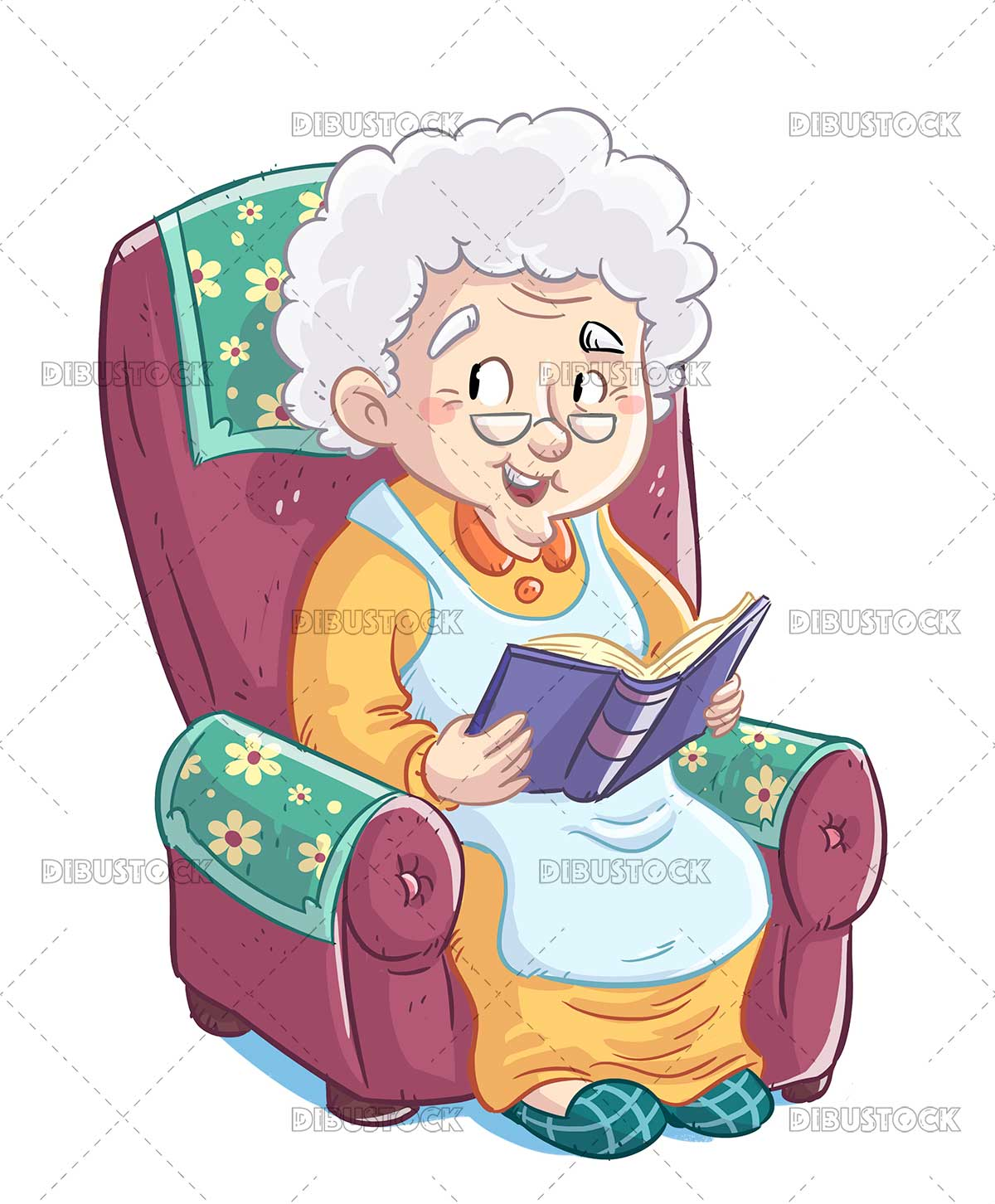 Illustration of old woman reading a book in the armchair