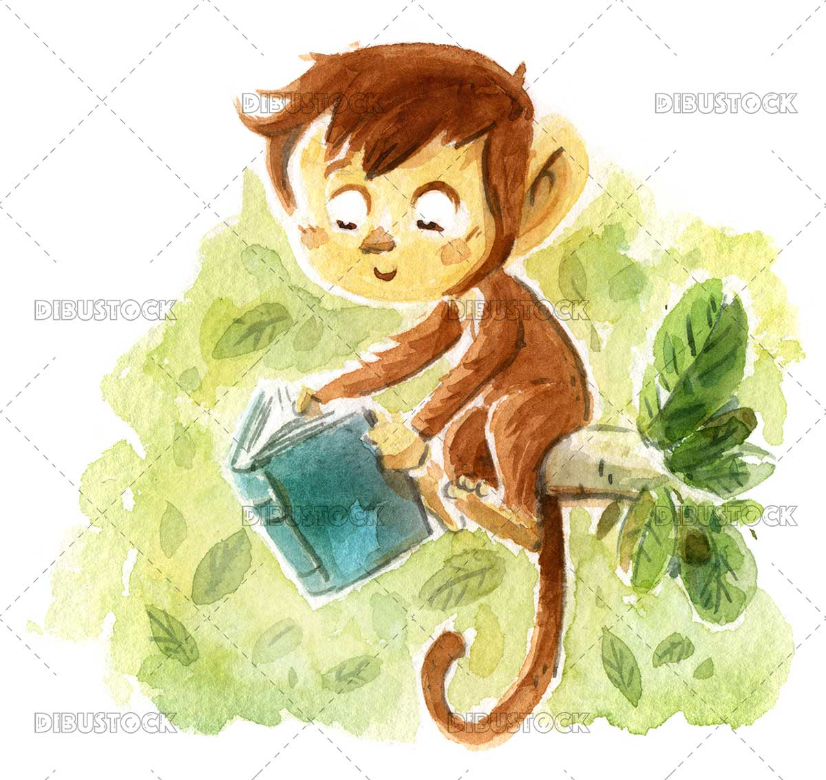 Monkey reading a book in the jungle