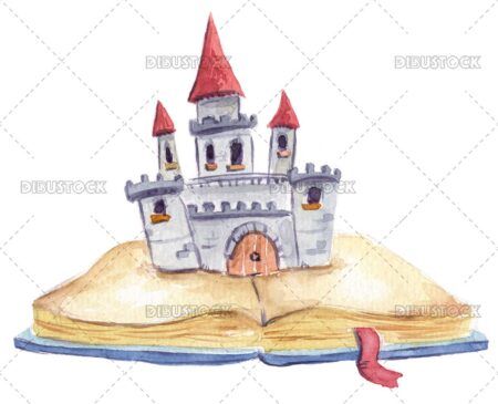 Open book with magic castle