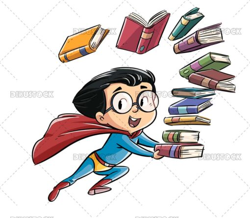 Superhero kid flying with books