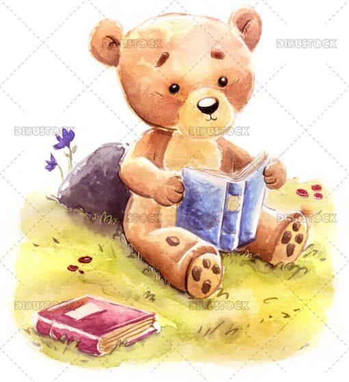 Teddy bear reading a book in the field