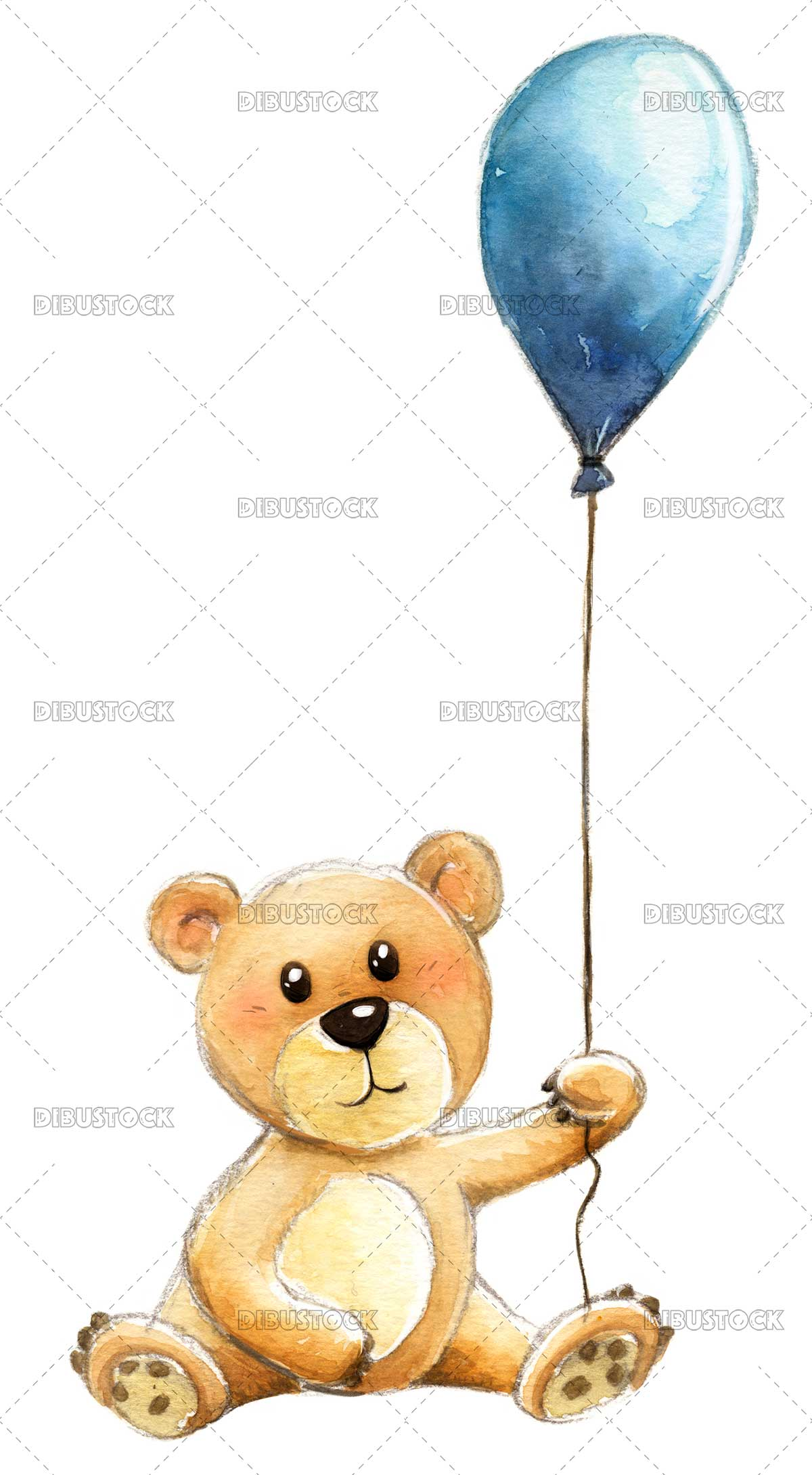 Teddy bear with blue balloon