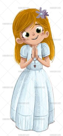drawing of blonde girl making her first communion