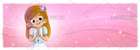 happy girl making her first communion with textured background
