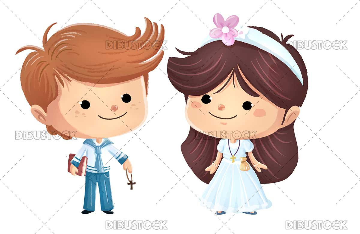 illustration of a boy and a girl dressed in first communion dresses