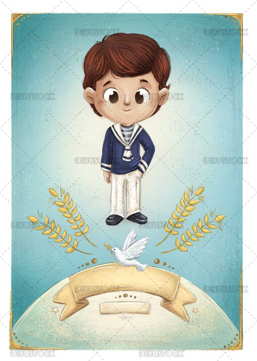 illustration of a child making his first communion card