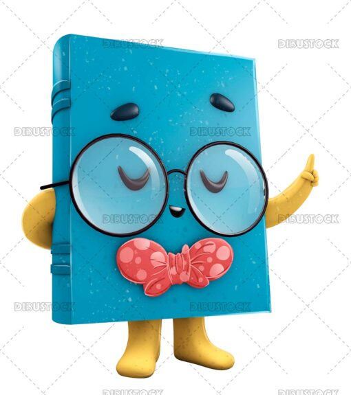 3D Illustration of Book Mascot with Glasses