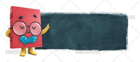 3D Illustration of Book Mascot with Glasses and Blackboard