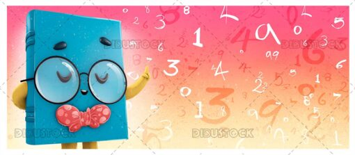 3D Illustration of Book Mascot with Glasses and Numbers Background