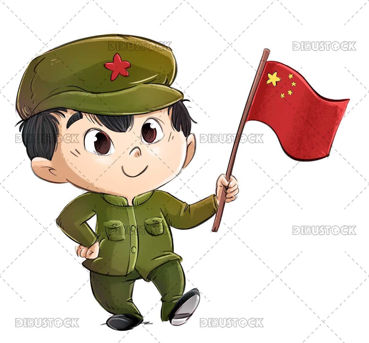 Illustration of Chinese boy with Chinese flag