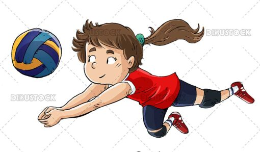 Illustration of Volleyball Player Receiving A Ball