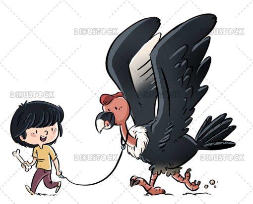 Illustration of a Boy Walking a Condor