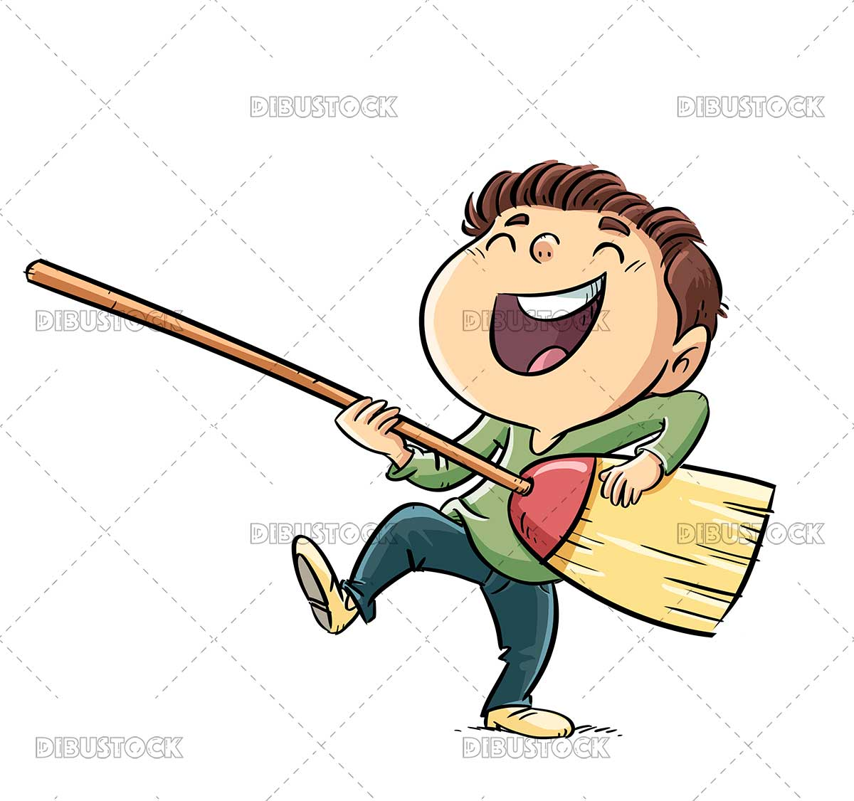 Illustration of a boy playing the broom like a guitar