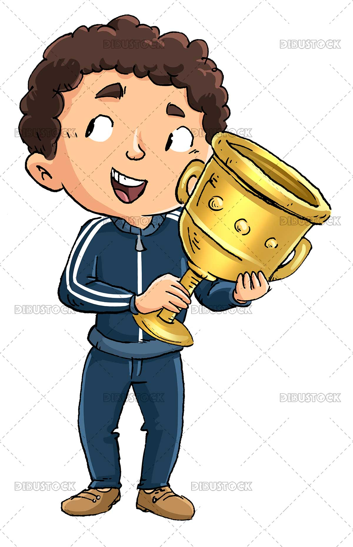 Illustration of boy athlete with champion cup in his hands