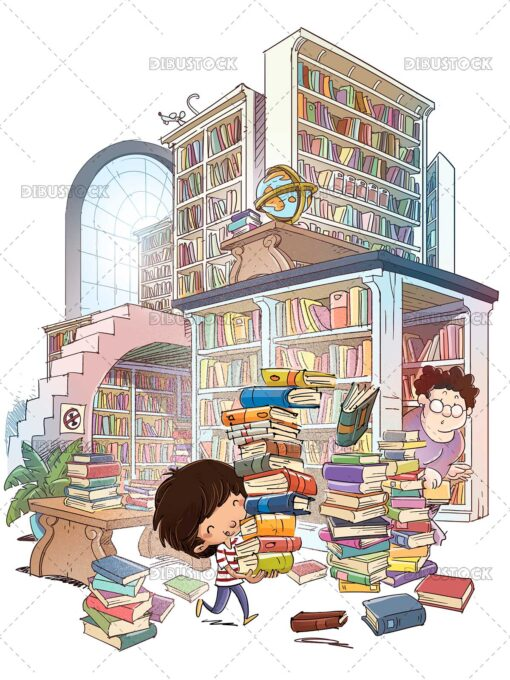 Illustration of boy in the library with many books