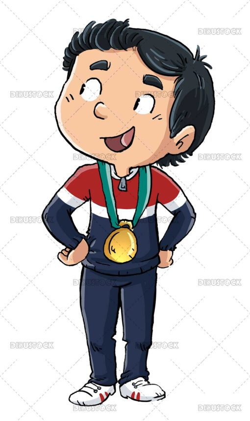 Illustration of boy receiving a gold medal