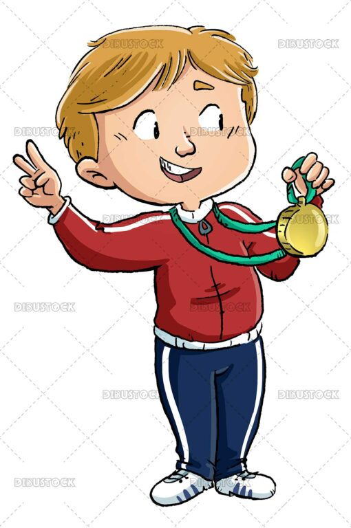 Illustration of boy receiving gold medal