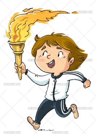 Illustration of boy running with olympic torch