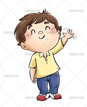 Illustration of boy waving