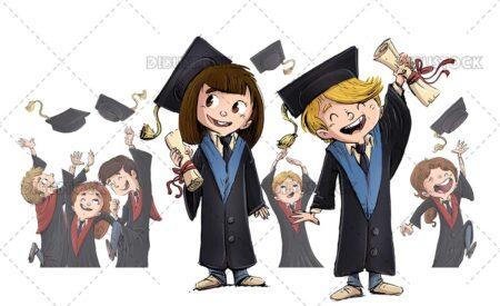 Illustration of boys and girls graduating