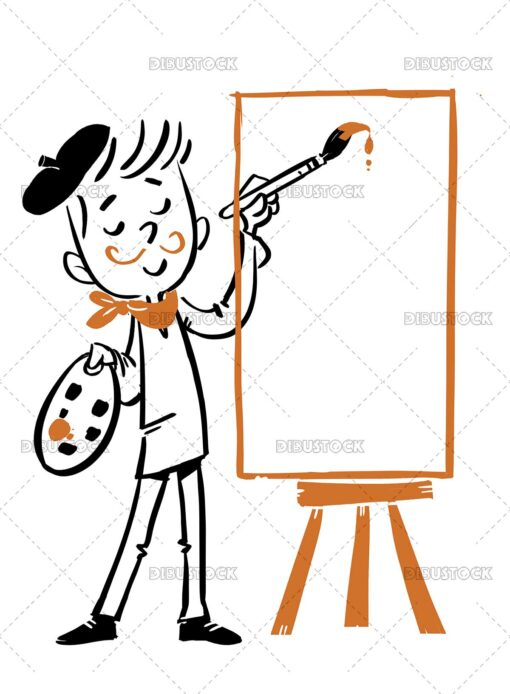 Illustration of child artist painting a canvas