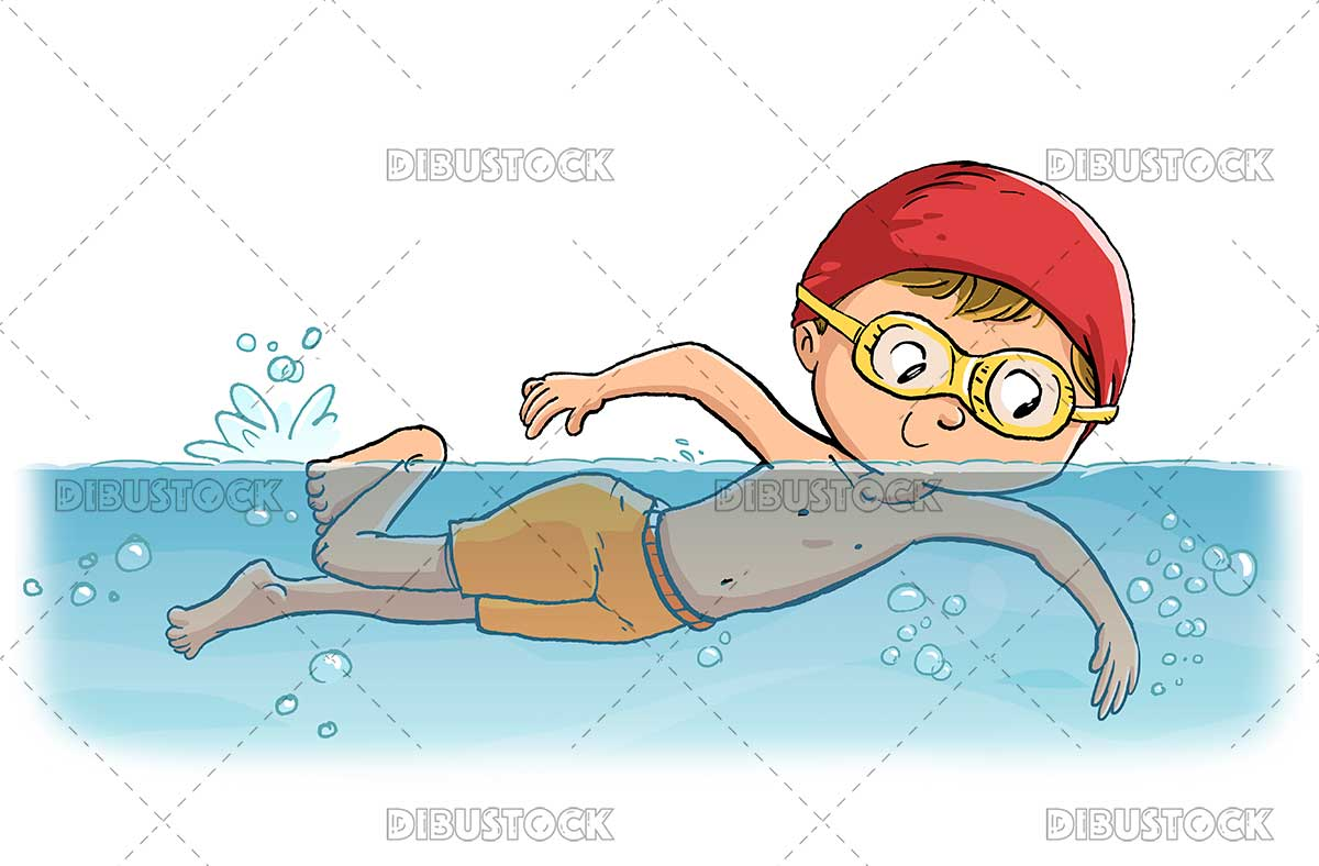 Illustration of child swimmer in the pool