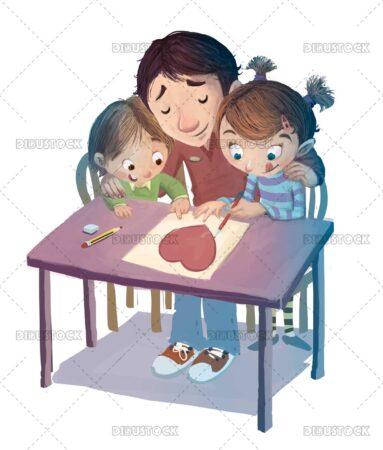 Illustration of children celebrating fathers day