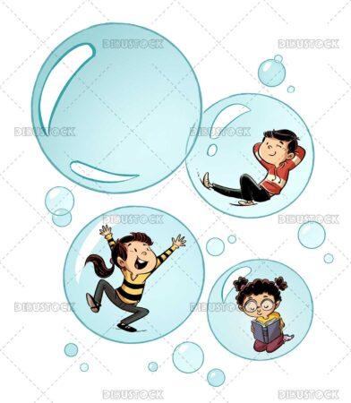 Illustration of children inside bubbles