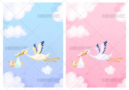 Illustration of congratulation with stork and baby