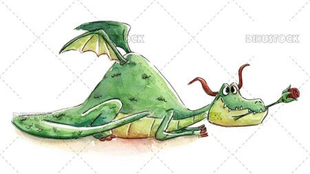 Illustration of dragon with rose in mouth