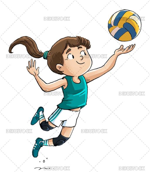 Illustration of girl playing volleyball jumping