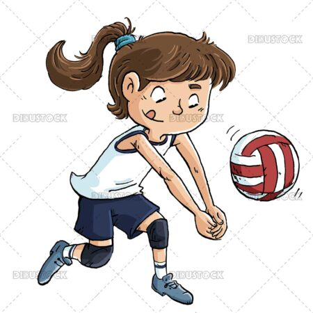 Illustration of girl playing volleyball with ball