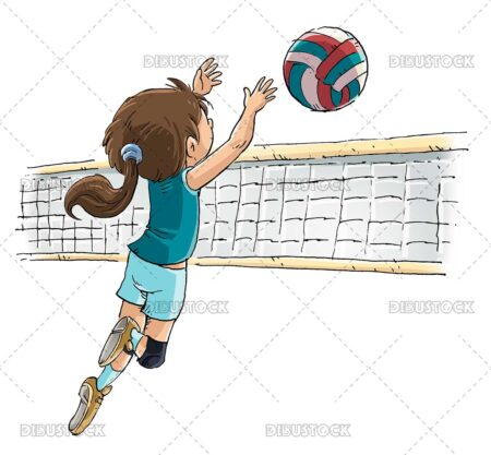 Illustration of girl playing volleyball with net and ball