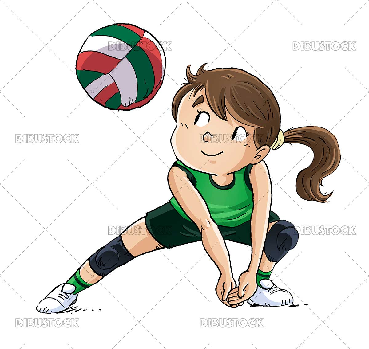 Illustration of girl playing volleyball