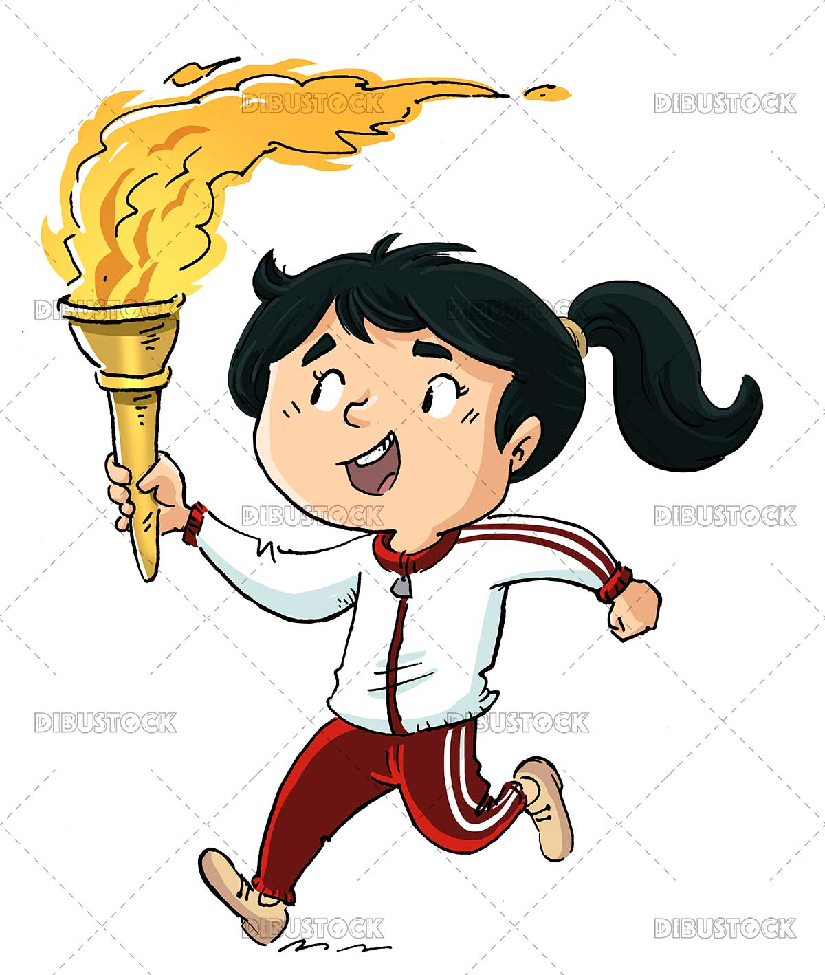 Illustration of girl running with olympic torch