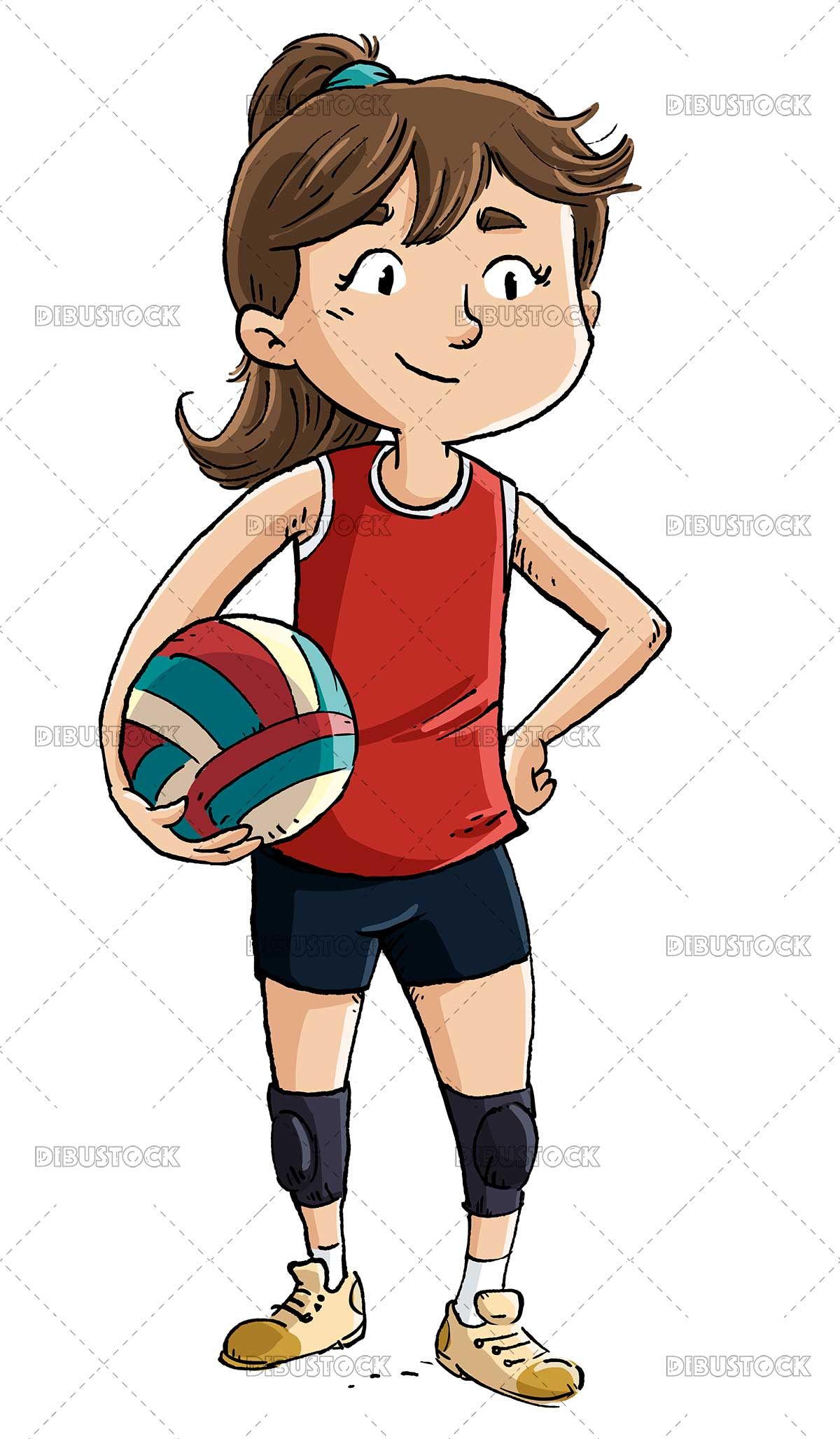 Illustration of girl volleyball player posing with ball