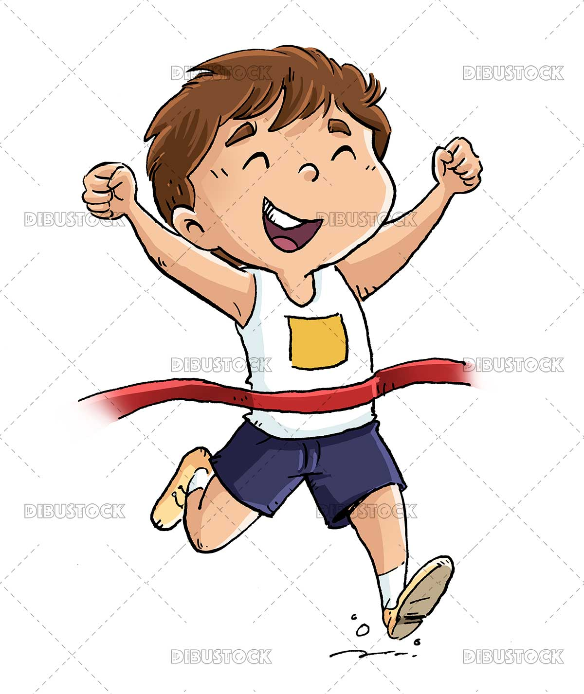 Illustration of kid runner reaching the finish line