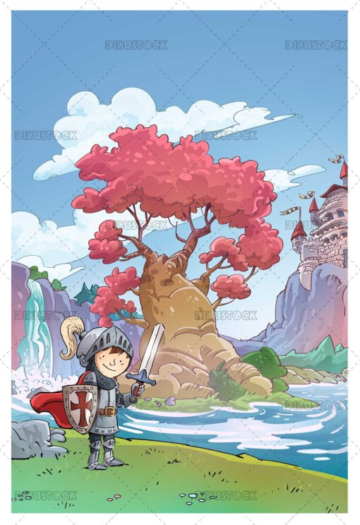 Illustration of knight boy with castle background