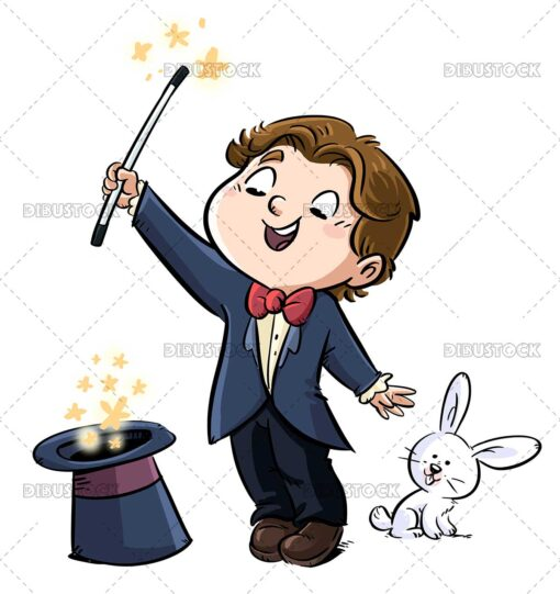 Illustration of magician boy with hat and rabbit