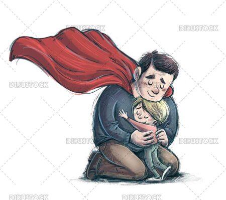 Illustration of superhero father hugging his son