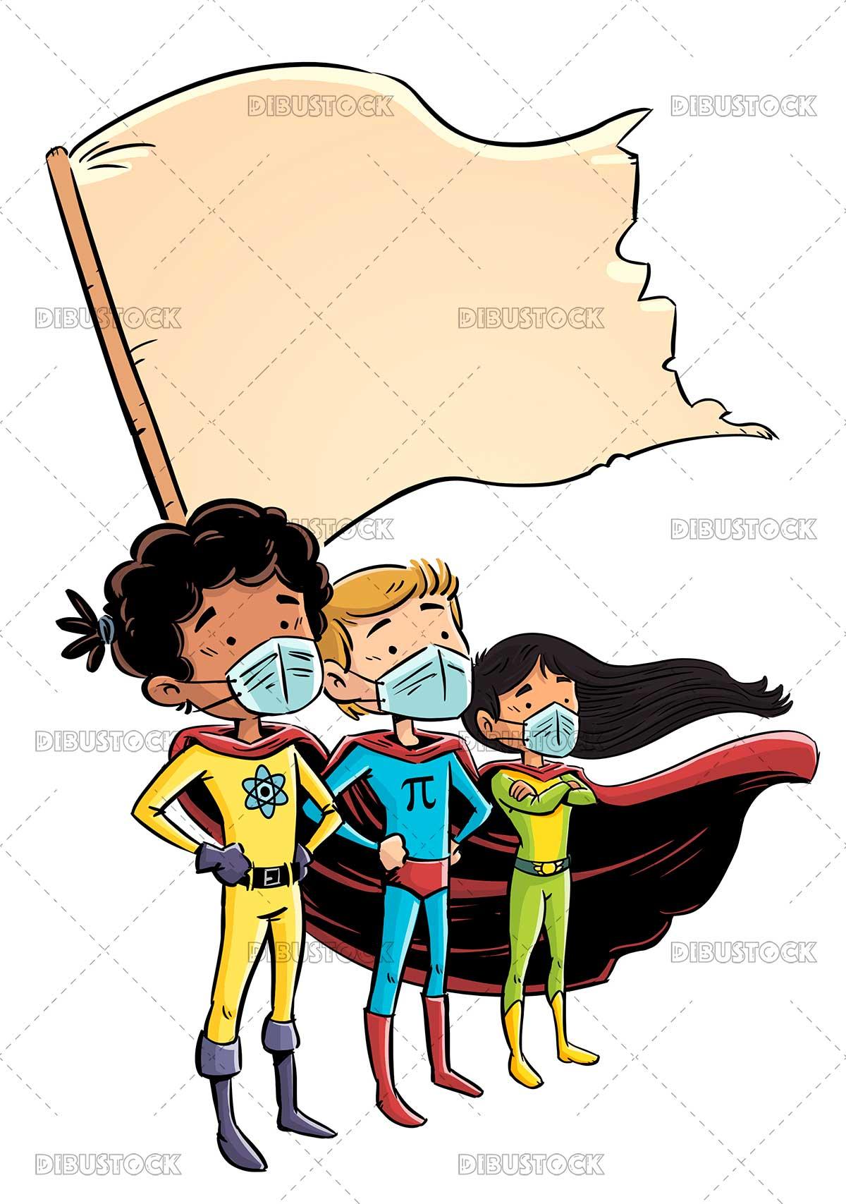 Illustration of superhero student kids with mask